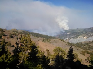 Smoke from a not-so-distant 13,000 acre wildfire